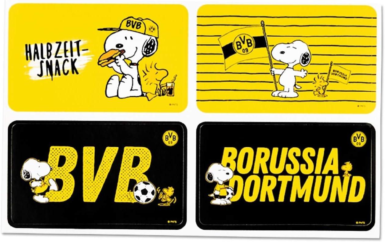 Borussia Dortmund Aufkleberkarte Snoopy Aufkleber BVB 09 Sticker 4er Set Plus Lesezeichen I Love Dortmund
