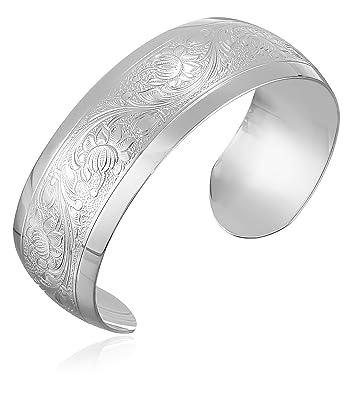 dee85a6644b3 Amazon.com  Sterling Silver Embossed Cuff Bracelet  Jewelry