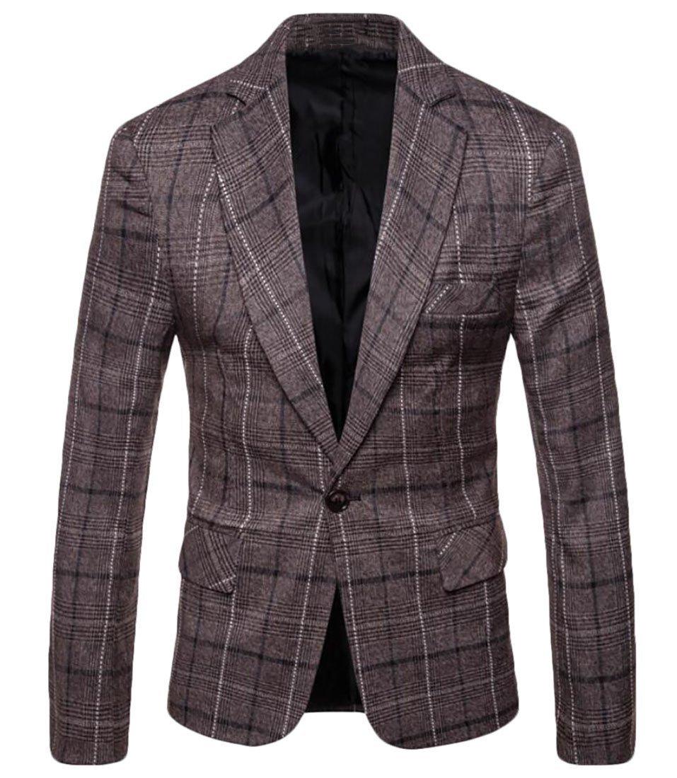 Pivaconis Men's Plaid Blazer Jacket Business One Button Slim Fit Suits Sport Coat