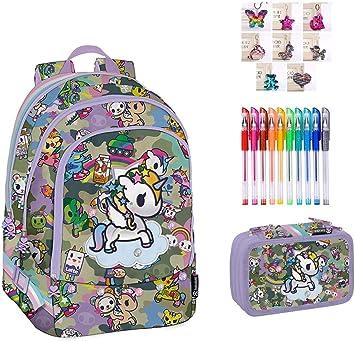 Mochila Escolar Tokidoki Unicornio Original Nueva colección + Estuche 3 Pisos Cremallera Completo + Llavero girabrillo + marcapáginas + 10 bolígrafos de Colores: Amazon.es: Equipaje
