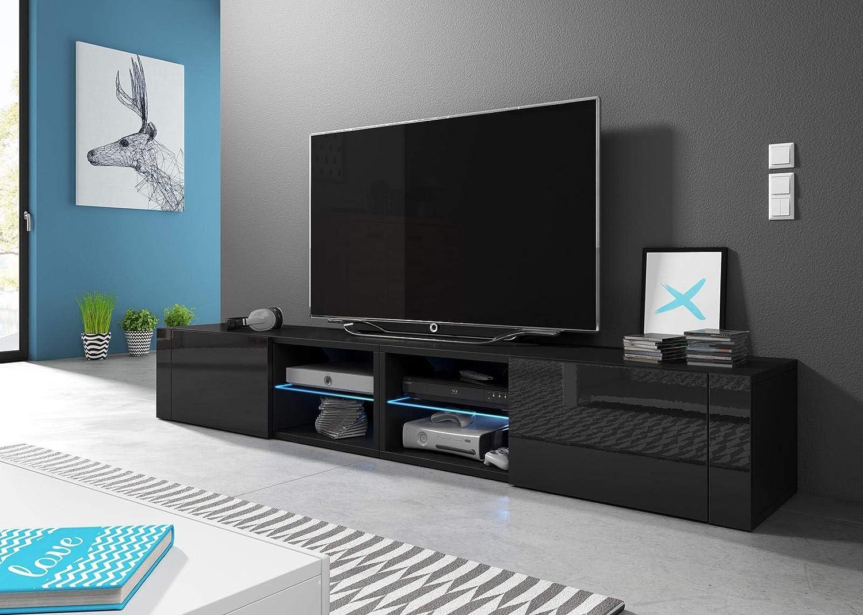 Hit 2 DOUBLE Nero Opaco // Nero Lucido con illuminazione a LED blu Stile Design 200 cm VIVALDI Mobile porta TV