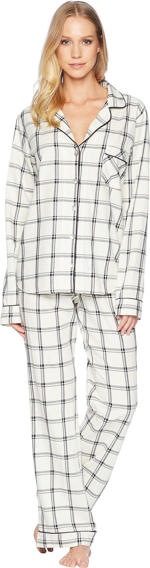 UGG Womens Raven Plaid PJ Set Cream/Black MD