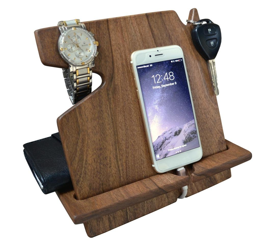 Wood Phone Docking Station Dark Walnut with Key Holder, Wallet Stand and Watch Organizer Men's Gift Compatible with Any Phone