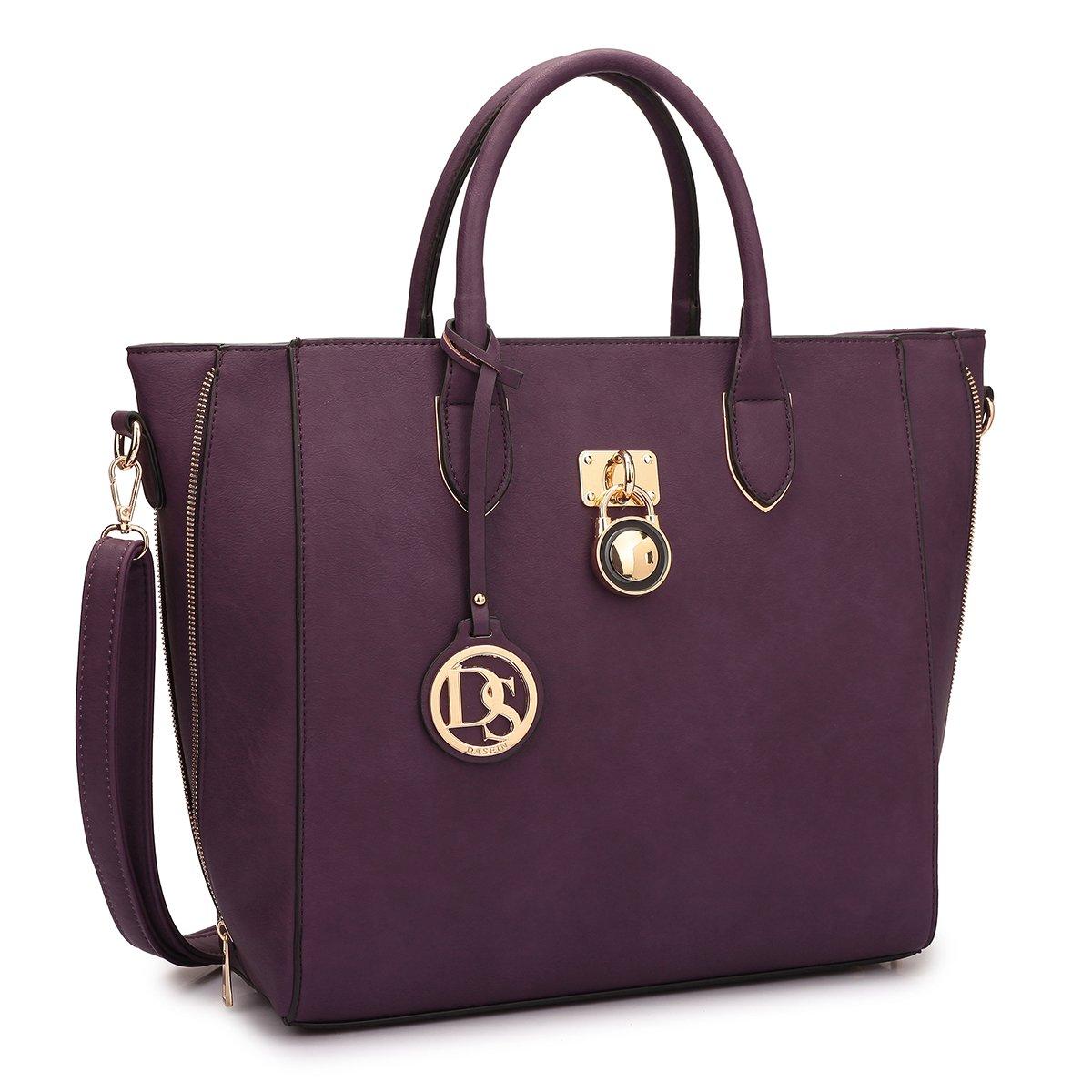 Dasein Women's Top Handle Structured Padlock Tote Bag Satchel Handbag Shoulder Bag With Shoulder Strap (Purple)