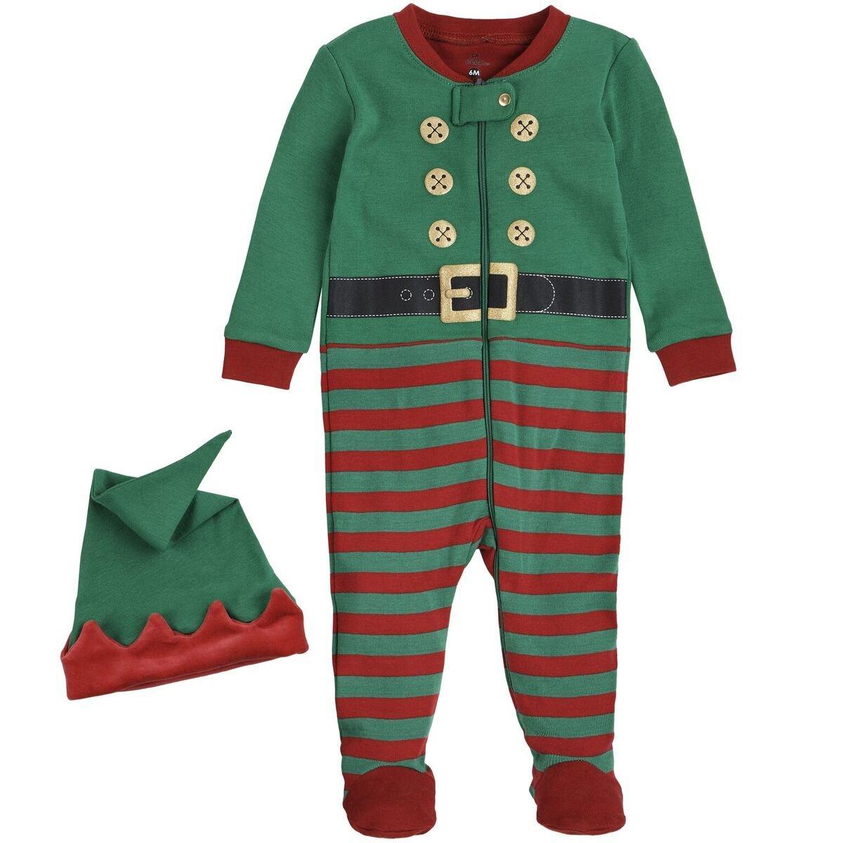 Petit Lem Holiday Baby Sleeper Pyjama & Hat In Knit, Multi, 3M by Petit Lem