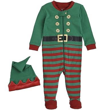 439843ca049e Amazon.com  Petit Lem Holiday Baby Sleeper Pyjama   Hat In Knit ...