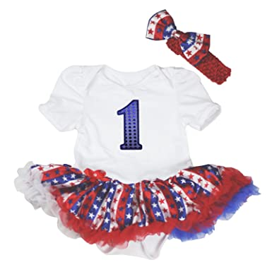 9777a1a30e8 ... lower price with 6e6ac fc222 4th July Sequin 1st Birthday White Bodysuit  Stripe Stars Baby Dress ...