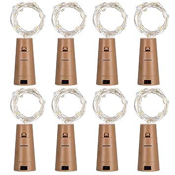 Mudder 8 Pack Luces de Alambre de Corcho de Botella 20 Micro Leds para Decoración de