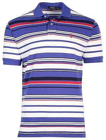 Polo Ralph Lauren Men\u0027s Multi Stripe Mesh Polo Shirt-Barclay Blue-Medium at  Amazon Men\u0027s Clothing store: