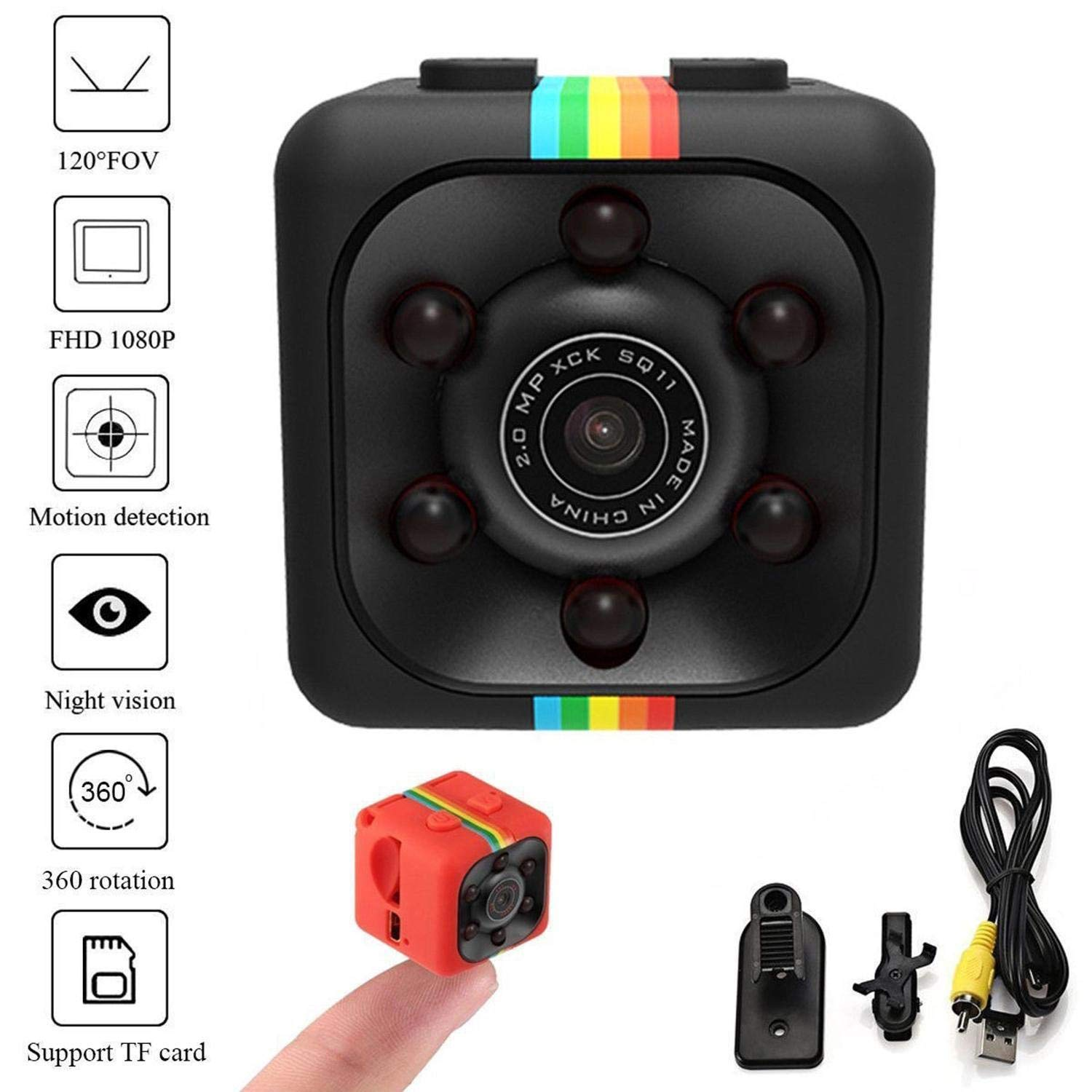 liwei18 Car HD Mini Camera 360 Degree Video Recording Support TF by liwei18