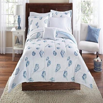 Amazoncom Seashells Beach Themed Nautical Twin Comforter Set 6