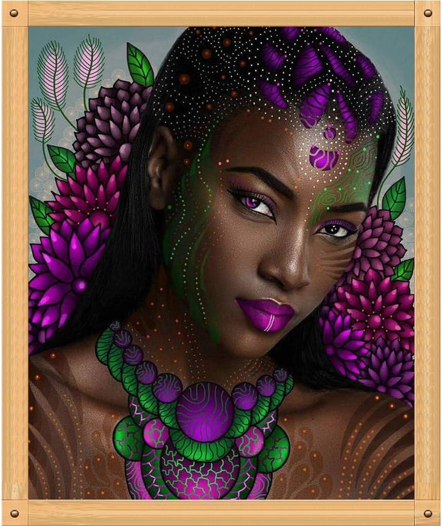 S-TROUBLE African Woman DIY 5D Taladro Completo Diamante Pintura Bordado Kit de Punto de Cruz Rhinestone Inicio Decoraci/ón de la Pared Artesan/ías 30cmx40cm