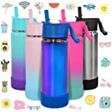 CHILLOUT LIFE 17 oz Insulated Water Bottle with Straw Lid for Kids and Adult + 20 Cute Waterproof Stickers - Perfect for…