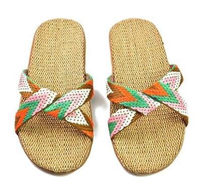 cbb52170f Image Unavailable. Image not available for. Color  SHUSHI Women Strap Flip  Flops Sandals Cotton ...