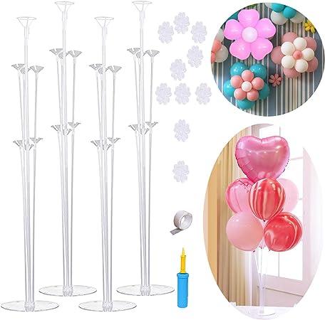 Juego de 4 soportes para globos de mesa, reutilizables, transparentes, para globos (7 palos de globo,