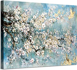 Abstract Canvas Painting Flower Picture: Blue Floral Wall Art Print on Canvas for Office (36'' x 24'' x 1 Panel)