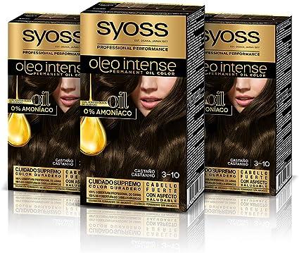 Syoss Oleo Intense - Tono 3-10 Castaño (Pack De 3) – Coloración permanente sin amoníaco – Resultados de peluquería – Cobertura profesional de canas