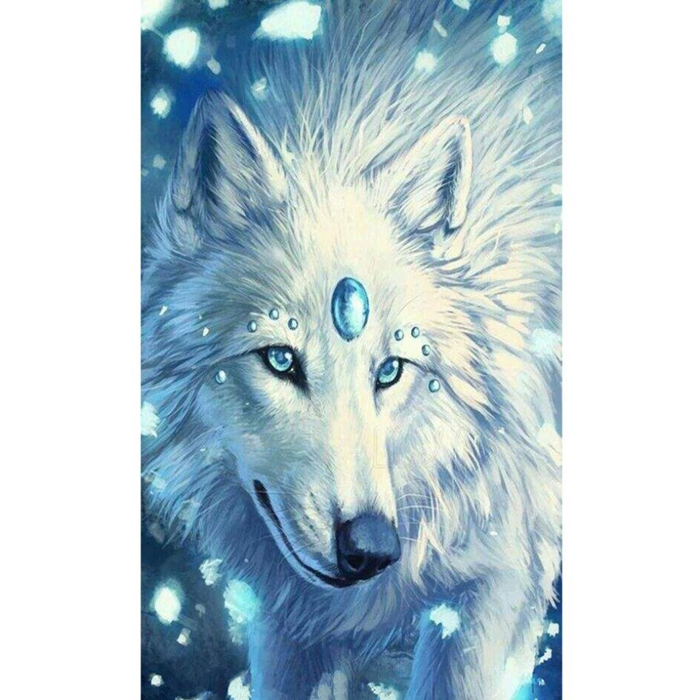 New DIY 5D Embroidery Paintings Rhinestone Pasted Diamond Painting Cross Stitch,Horse Wolf Tiger Cat,Animals Pollyhb 5D Diamond Painting E, 25x25cm