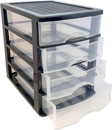 Plastic Forte - Cajonera de plástico Negra 4 cajones 35 x 27 x 35.5 cm: Amazon.es: Hogar