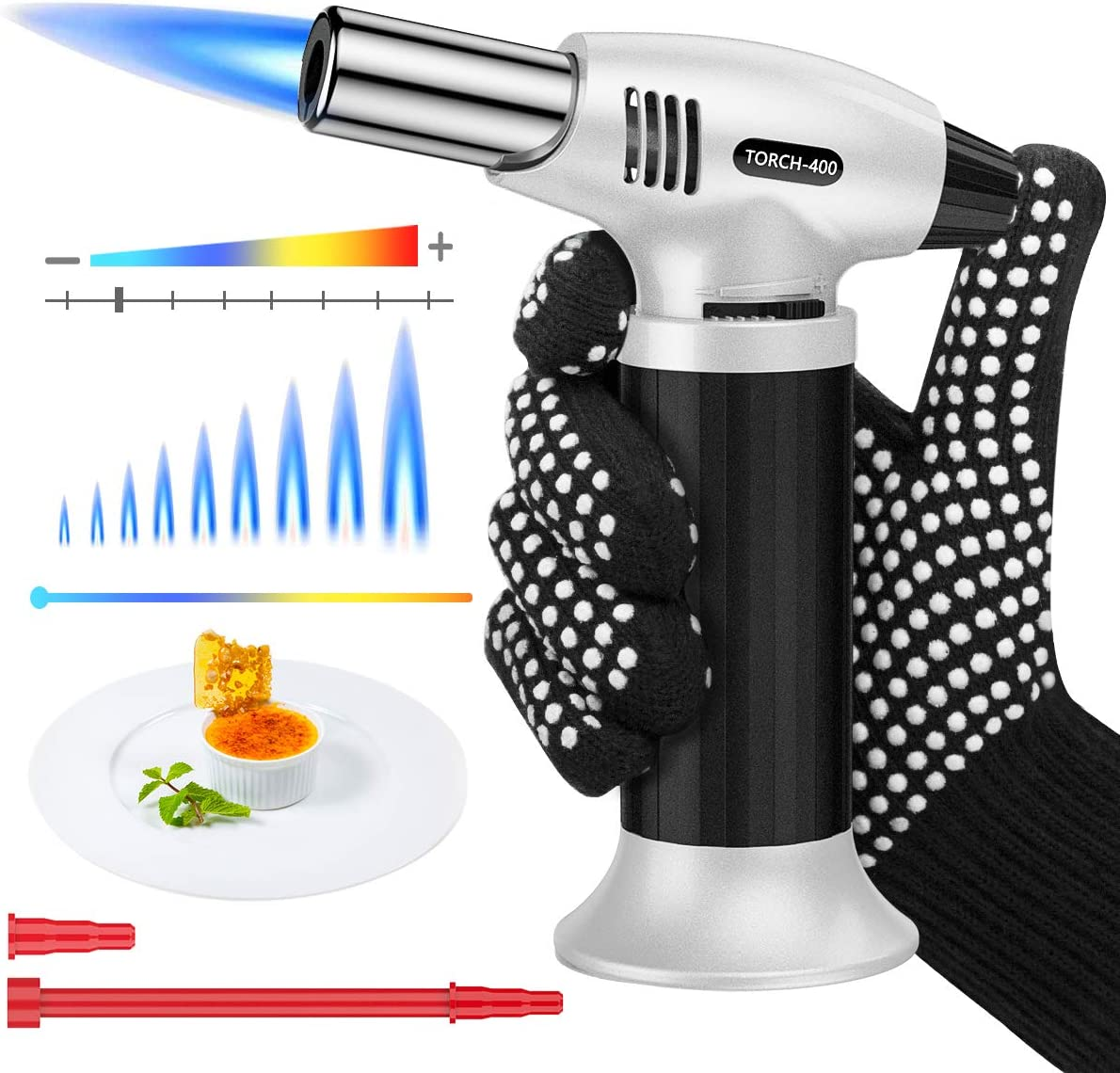 Peakally Butane Torch Lighter,Kitchen Blow Torch with Adjustable Flame,Safety Lock.Easy Use/Refill with Tool& Anti-heating Glove,Best For Creme Brulee,Cooking,Searing and More(Butane Gas Not Included)