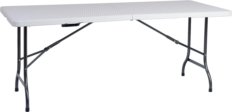 Resol Easy Rattan 180 Mesa Plegable, Blanco, 183 x 76 x 74 cm ...