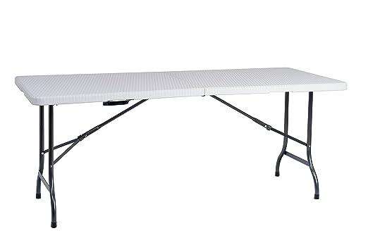 resol Easy Rattan 180 Mesa Plegable, Blanco, 183x76x74 cm