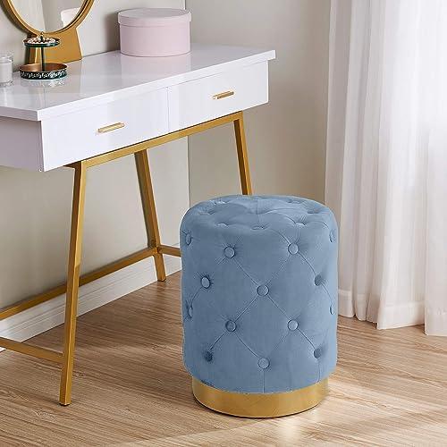 Ornavo Home Beverly Modern Contemporary Round Tufted Upholstered Velvet Ottoman