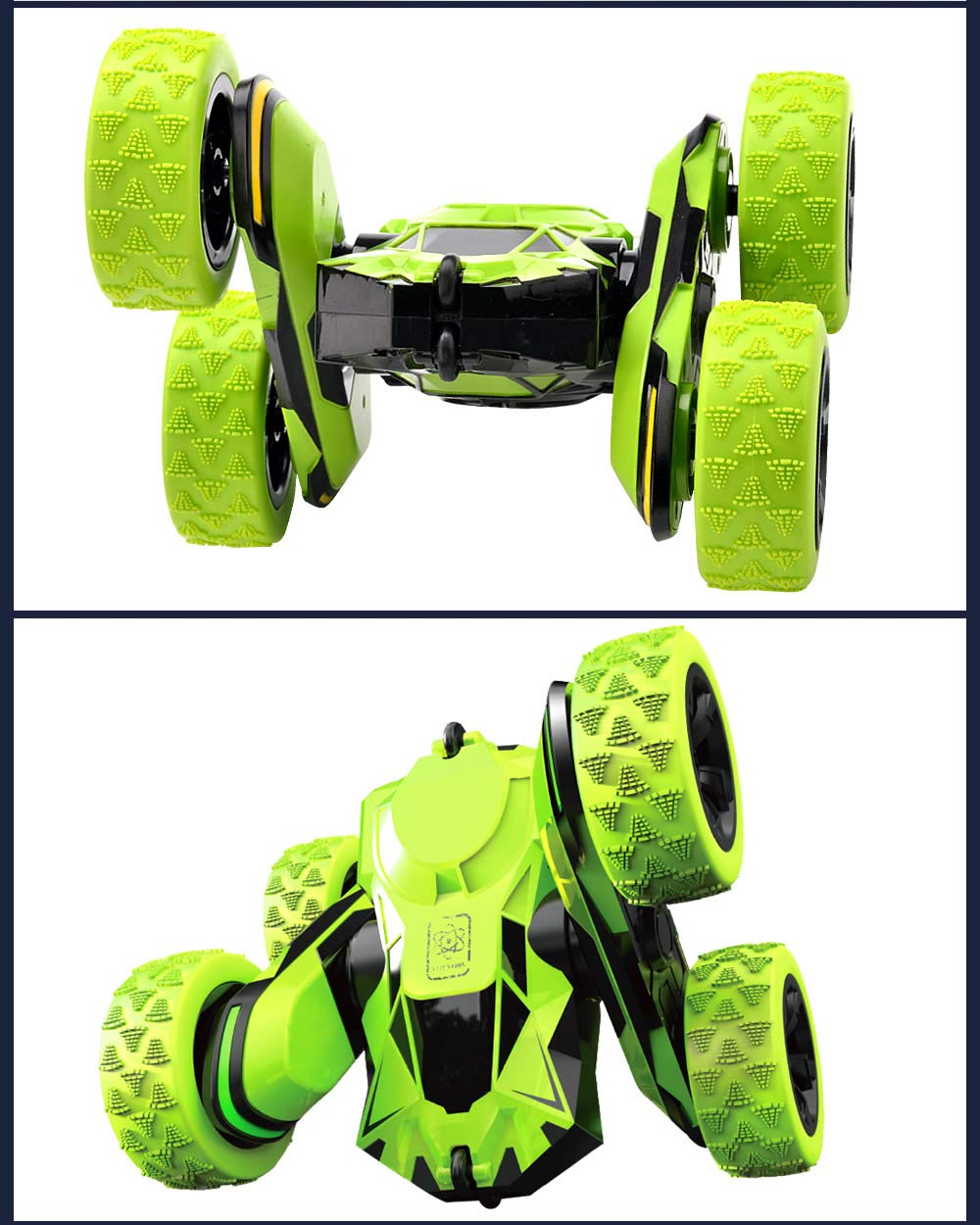 Threeking Rc Stunt Car Remote Control Off-Road Truck Double Sided Tumbling 360 Degree Rotation 3D Deformation Dance Car 1:28 2.4Ghz Rechargeable Stunt Car Great Gift for Kids - Green by Threeking (Image #5)