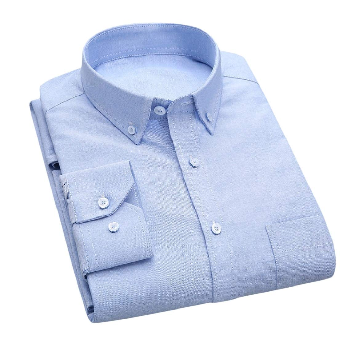 Cromoncent Men Casual Slim Fit Long-Sleeve Button Up Cotton Solid Shirts