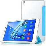 ELTD Huawei Mediapad T2 8.0 pro ケース , Mediapad T2 8.0 pro カバー 専用 保護ケース プレミアムレザー 三つ折 スタンド機能が付き  超薄型 最軽量 全面保護型  5色可選 半透明おしゃれケース (Huawei MediaPad T2 8.0 Pro, ブルー)