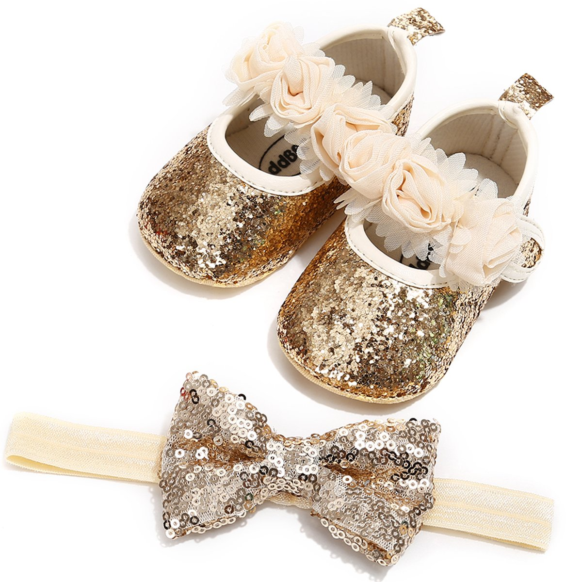 LIVEBOX Baby Infant Girls Shoes, Soft Sole Prewalker Mary Jane Princess Dress Crib Shoes with Free Baby Headband for Attend Wedding Birthday Party Events (Gold, M)