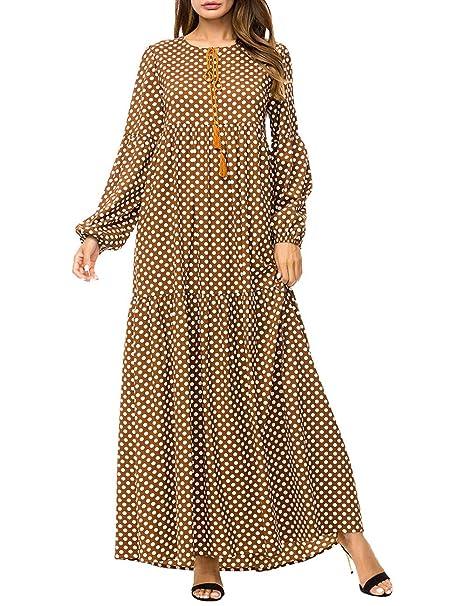 TAAMBAB Mujeres Punto Impreso árabe Kaftan Abaya Maxi Musulmanes Largo Vestidos - Longitud Total Prom Vestido Túnica: Amazon.es: Ropa y accesorios