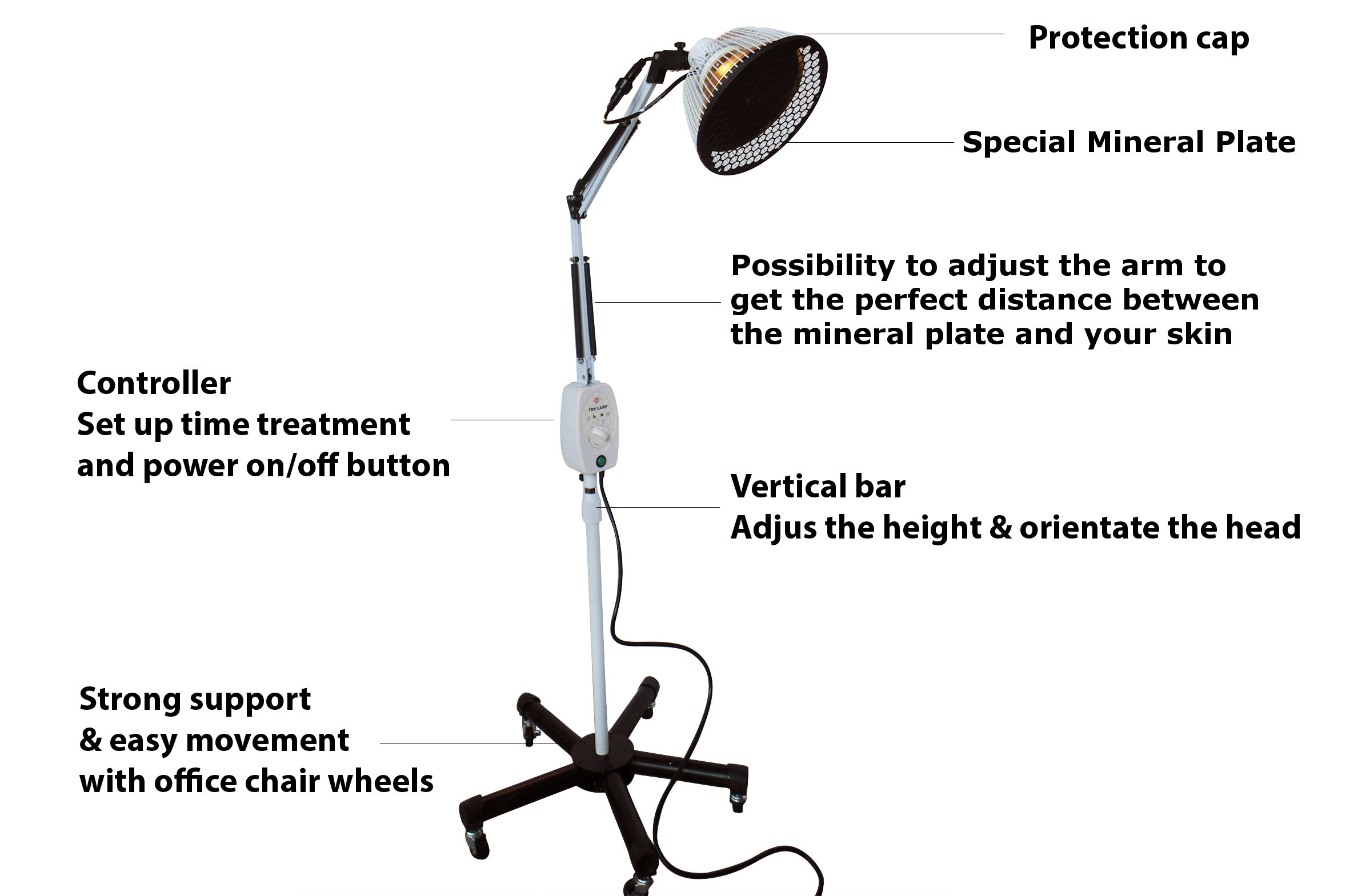 New TDP Lamp by VITA ACTIVATE + Genuine Large Mineral Plate, Detachable Head Far Infrared Natural Heat Therapy Great for Arthritis, Joint, Muscle, Tendon Pain Relief Recovery