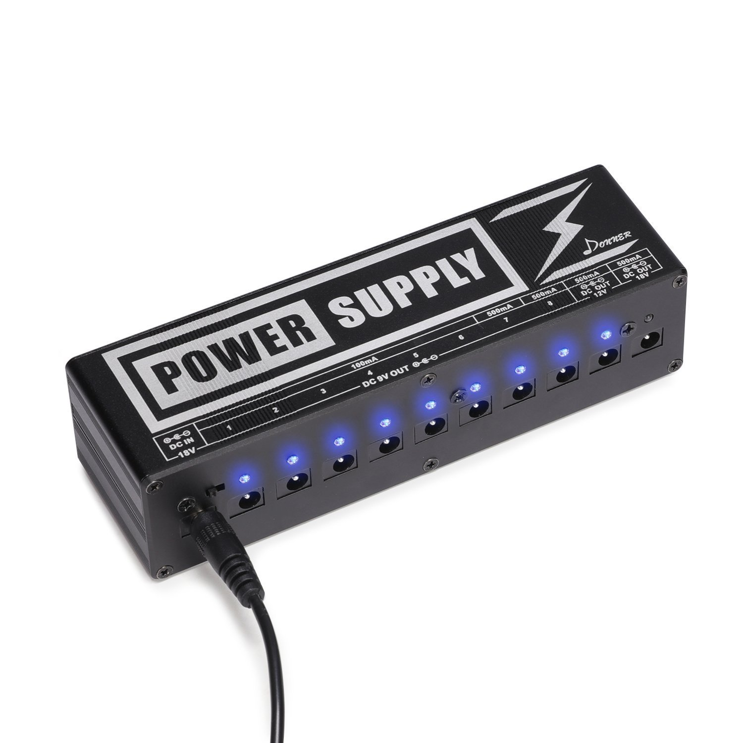 Donner DP-2 Guitar Pedal Power Supply High Current 10 Isolated DC Output for 9V/12V/18V Effect Pedals by Donner
