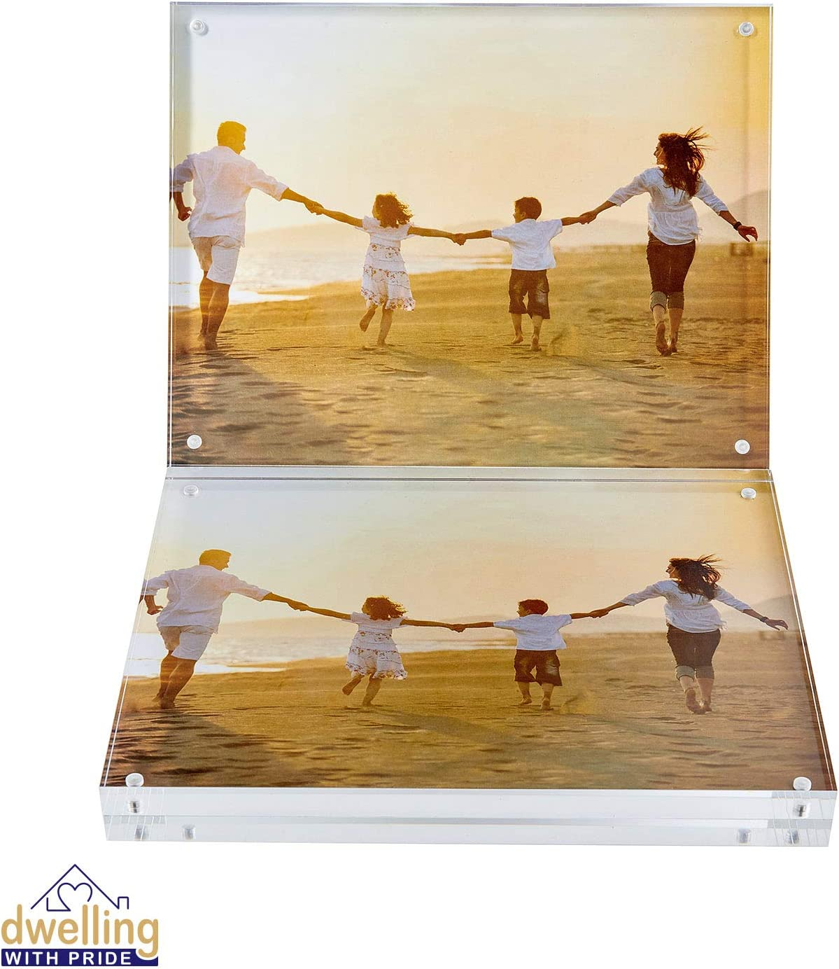 Dwelling With Pride Acrylic Picture Frame Set of 2-8x10 Inch - Acrylic Photo Frame - Collage Stand for Family Photographs - Clear Picture Frames for Office Desk & Side Table - Wedding Table Décor