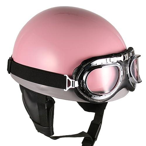 Goggles Vintage German Style Half Helmet (Pink, Large) Motorcycle Biker Cruiser Scooter Touring Helmet