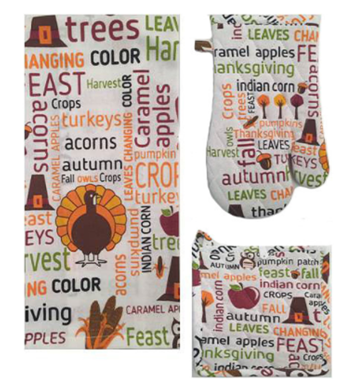 Twisted Anchor Fall Autumn Kitchen Towel Set - 4 pc Harvest Typography Design - Includes Pot Holder, 2 Coodinating Kitchen Towels, and Oven Mitt