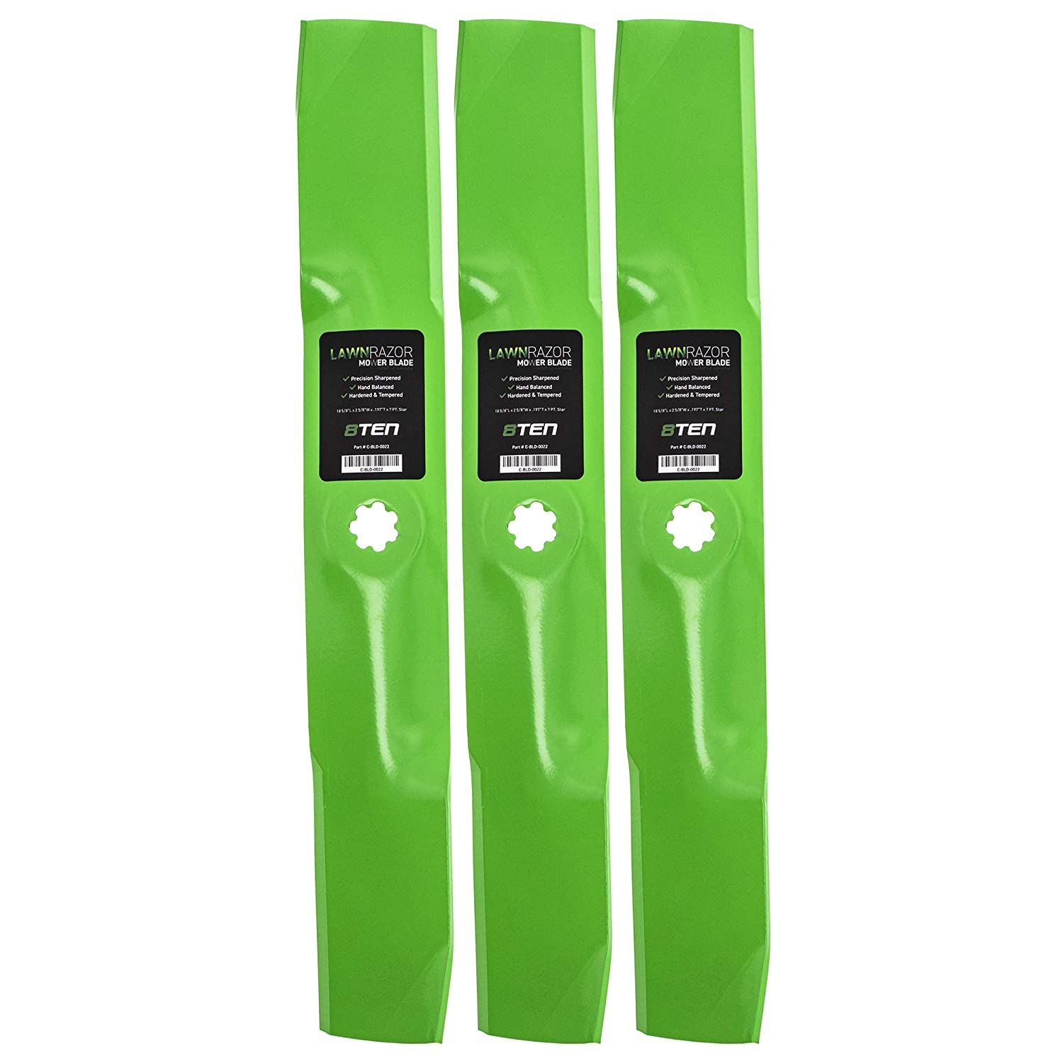8TEN LawnRAZOR Medium Lift Blade for Craftsman John Deere 54 Inch Deck Replaces GX21380 GY20679 GY20684 GY20686 3 Pack