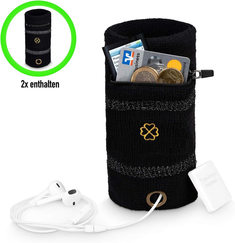 Lucky Humans/® 2 mu/ñequeras negras de alta calidad para el sudor de la mu/ñeca con bolsillo con cremallera