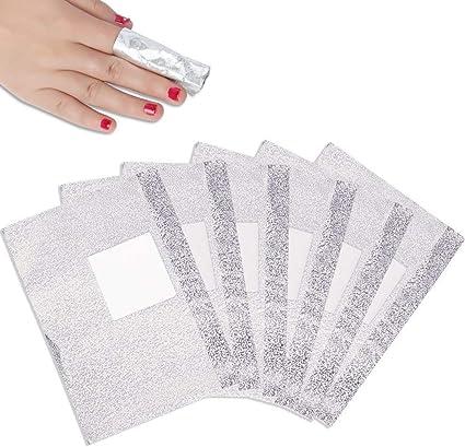 USHION Foils - Láminas de uñas con almohadilla de algodón (100 ...