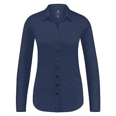 b3eaab3dc9858 DESOTO bügelfreie Premium - Jersey Bluse aus mercerisierter Baumwolle Uni