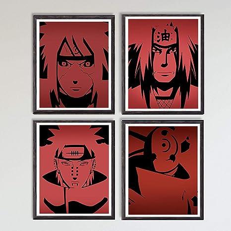 Naruto Legend of Ninja Madara Gama Jiraiya Pain Original Anime Canvas Art Print,8 x 10 Inches,No Frame,Set of 4