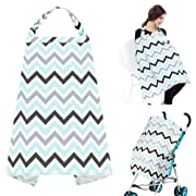 Accmor Breathable Nursing Cover, Multi-use Cotton Breastfeeding Cover Nursing Apron with Free Matching Pouch, Lightweight, Full Coverage, Rigid Neckline, Covers Up Newborns in Public for Mother's Day