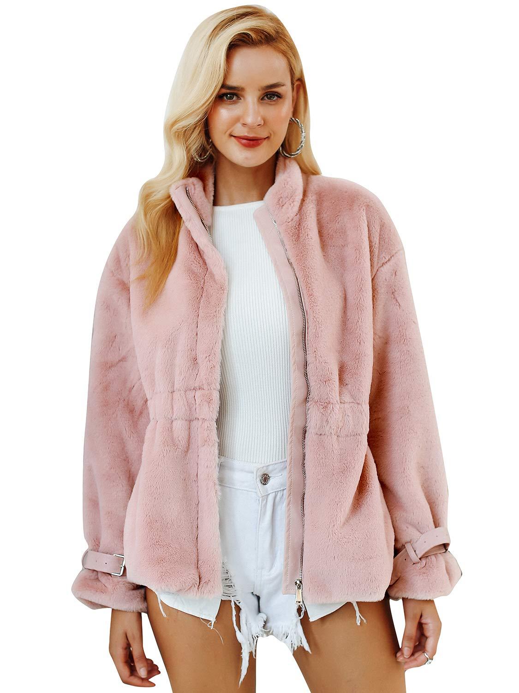 60655fb945e Simplee Women s Winter Faux Fur Coat Soft Warm Fur Zipper Outwear Jacket  with Pockets