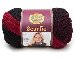 Lion Brand Yarn 826-205 Scarfie Yarn, One Size, Cranberry/Black