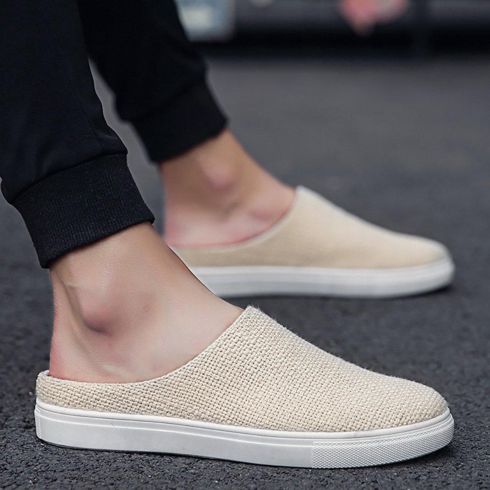 Zapatillas Slip-on de tela de hombre Zapatos Zapatillas de playa de malla de recorte de sandalias de verano (39~44 tallas) (Color : Beige, Tamaño : 44) 44|Beige