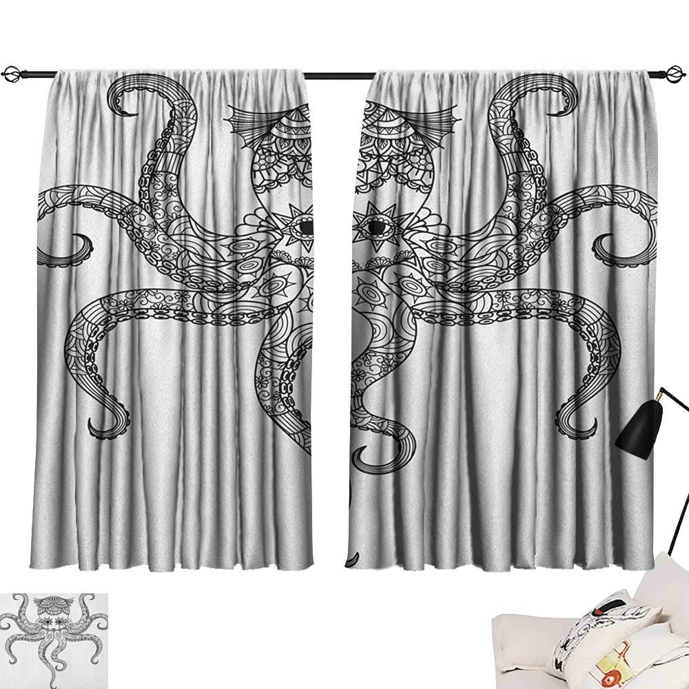 Pattern17 W63  x L63  Beihai1Sun Octopus Night Darkening Curtains Ocean Adventure Themed Pattern with Various Elements in Cartoon Style for Kids Curtain for Living Room Multicolor W63 x L45