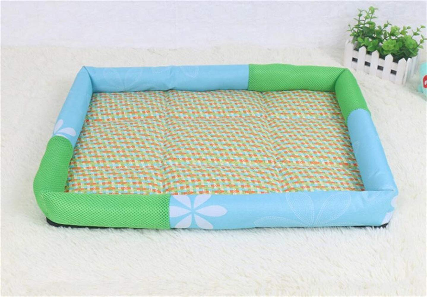 Happy- little -bear Pet Dog Summer Summer Mat Pet Cold Cushion (M, Blu)