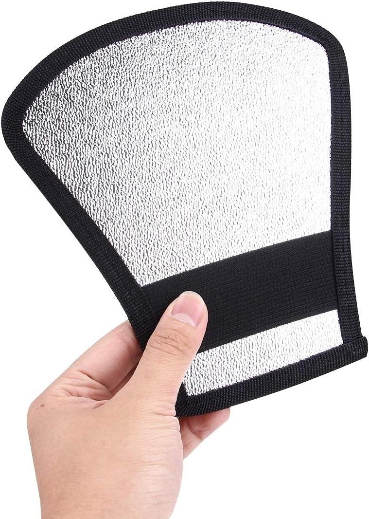 Fan-Shaped Folding Reflector Board MEETBM ZIMO,2 in 1 Silver//White Size: 20.0 x 18.5 x 10.5 cm