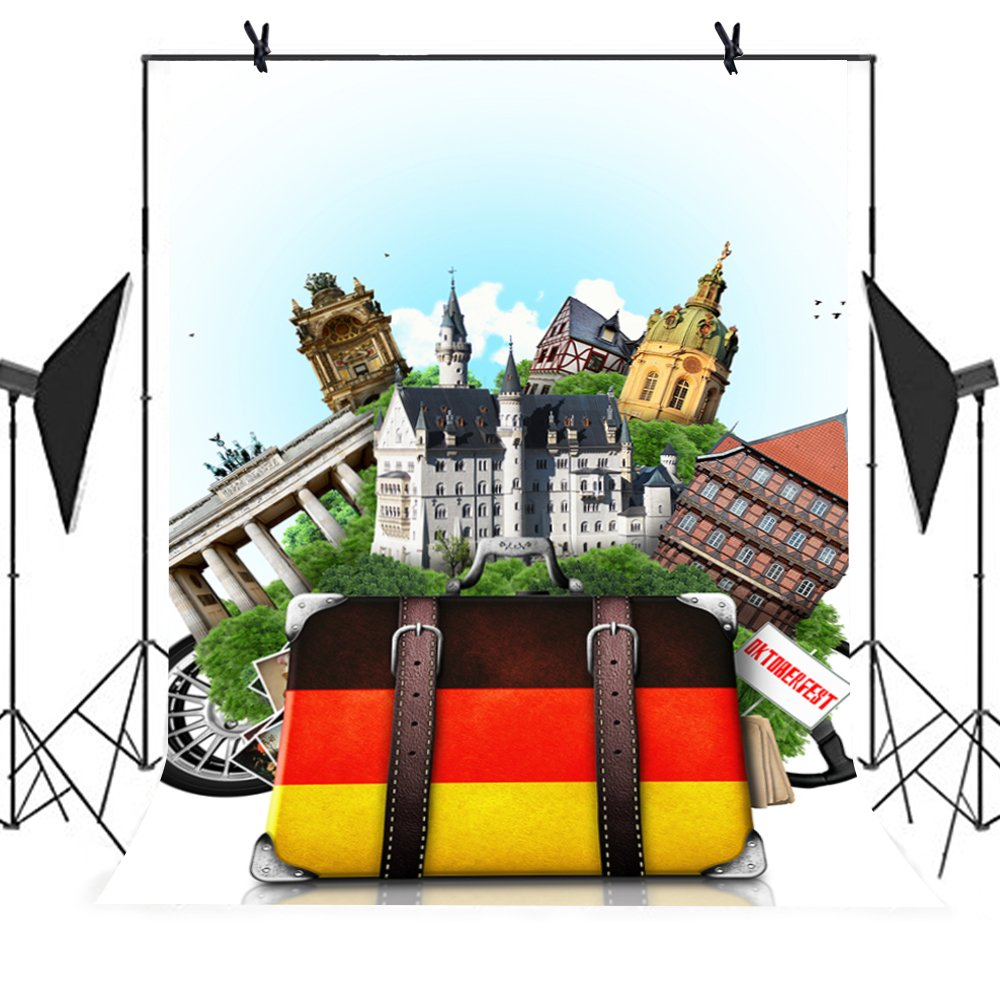 MEETS 5x7ft Travel Photography Backdrop Vintage Brick Wall Architecture Background Theme Party YouTube Backdrop MT445